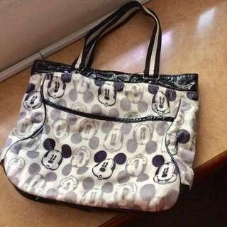 Preloved Mickey Mouse Black and White Cream Furry Tote Zip Bag