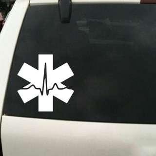 Star of Life ECG / heartbeat Sticker / Car Decal