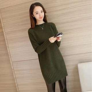 🚚 綠色針織長版洋裝