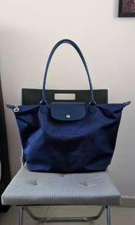 🚚 Longchamp Le Pliage Neo Tote Bag L Blue Authentic