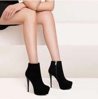 Black Platform Ankle Boots size 39 40