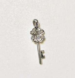 Pink box 18K 750 7份 鑽石 幸福 四葉草 心心 鎖匙 吊墜 diamond pendant