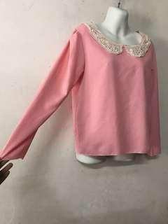 Blouse long sleeves  Pink Pastel