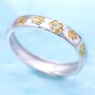 Paws pave ring, dog ring, meow ring, 925 silver ring, yellow gold, Tigarpaws collection, RN350