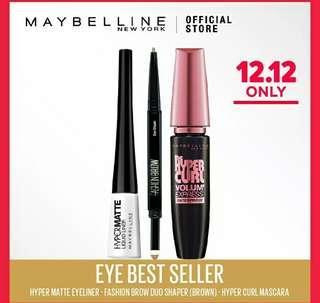 Harga murah 3pcs MAYBELLINE : maskara Hypercurl, Eyeliner Hypermatte, dan pensil alis duo sharper