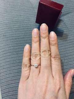 周大福 CTF 18K 750 白金 44份 鑽石 六爪 戒指 diamond ring
