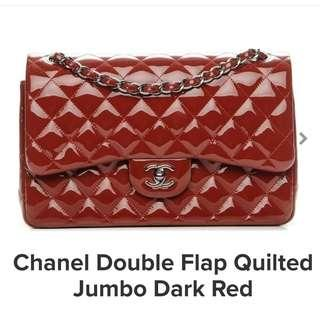 Chanel Double flap Quilted Jumbo dark red with 24k gold chain (comes with dust bag)