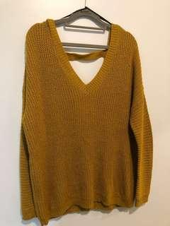 Oversized Mustard Knit Sweater Open Back (Size S)