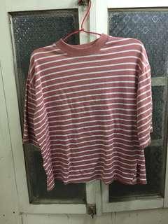 乾燥粉色條紋上衣/可穿至小L/韓貨
