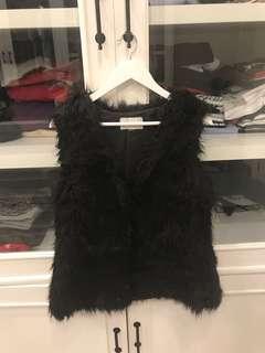 usa brand fur black vest for winter