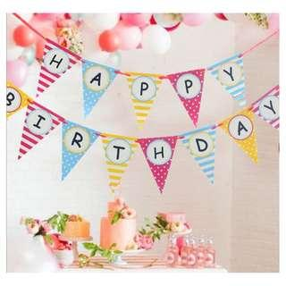 Happy Birthday Flag Bunting Flag Banner Triangle for Birthday Party Decoration