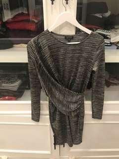 topshop black grey bodycon dress