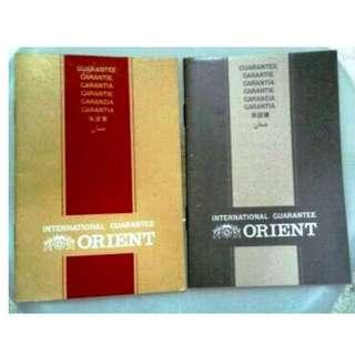 NOS ORIENT WATCH INTERNATIONAL GUARANTEE Booklet  $30 EACH 2 Cover Designs
