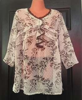 Pre loved Plus size Mint-green See-through Blouse