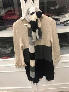 usa brand wool long sweater dapet scarf juga