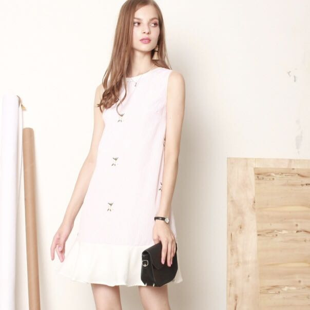 53b412d759d ACW pinstripe embroidery dropwaist work dress in dusty pink, Women's ...