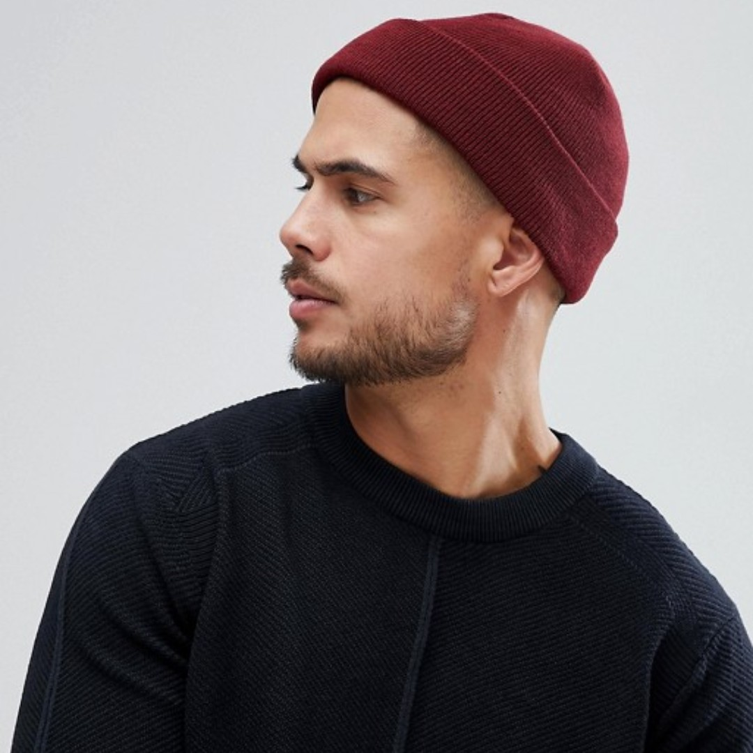 fc956787a3a1 Asos fisherman beanie maroon, Men's Fashion, Accessories, Caps ...