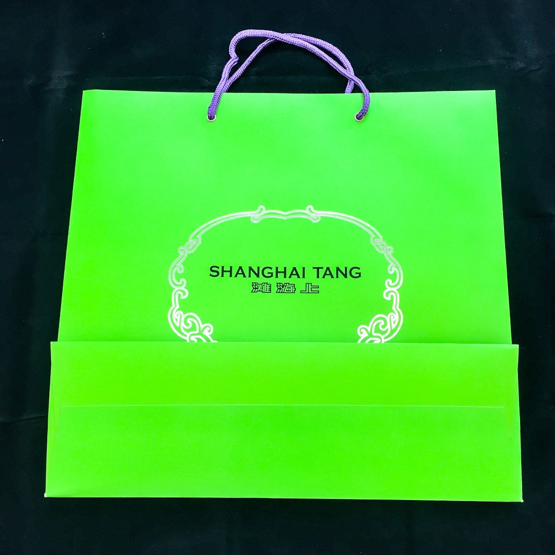 12c5c574e Auth SHANGHAI TANG Green Purple Large Paper Carrier Bag, Luxury ...