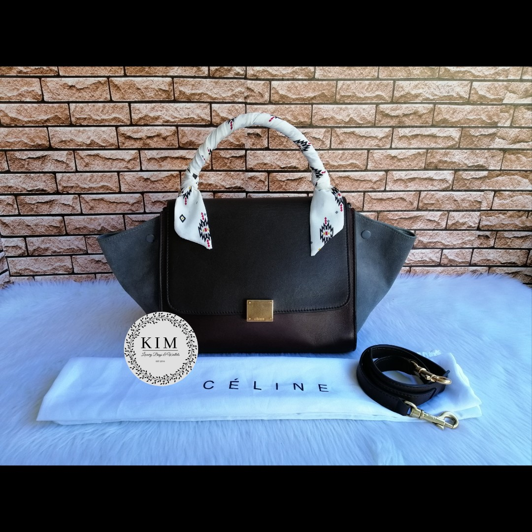 2113349a29 Authentic Celine Tricolor Calfskin Leather   Suede Small Trapeze Bag ...