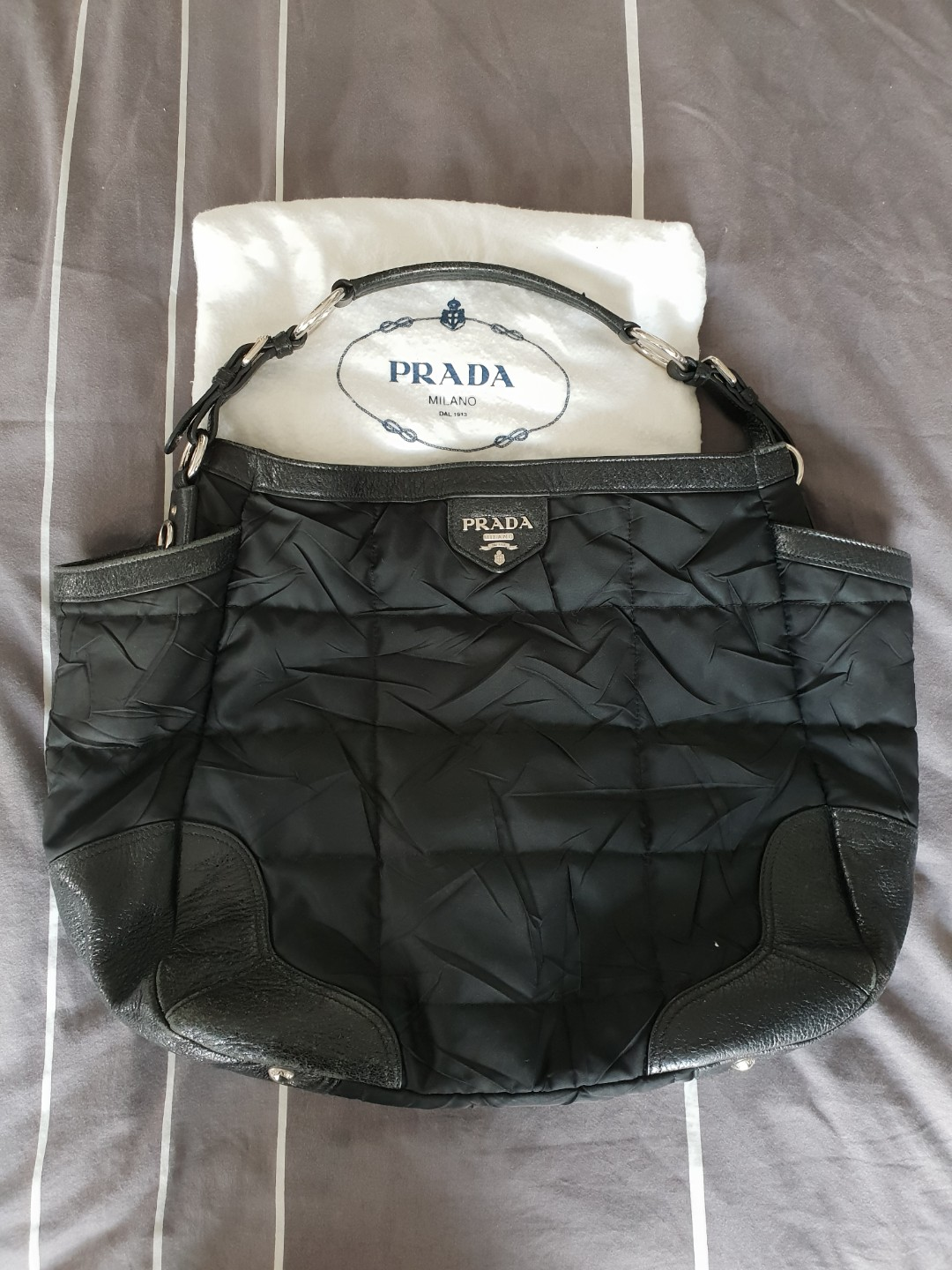 51e8c25b7d8f Authentic Prada Nylon Tessuto + calf leather shoulder bag