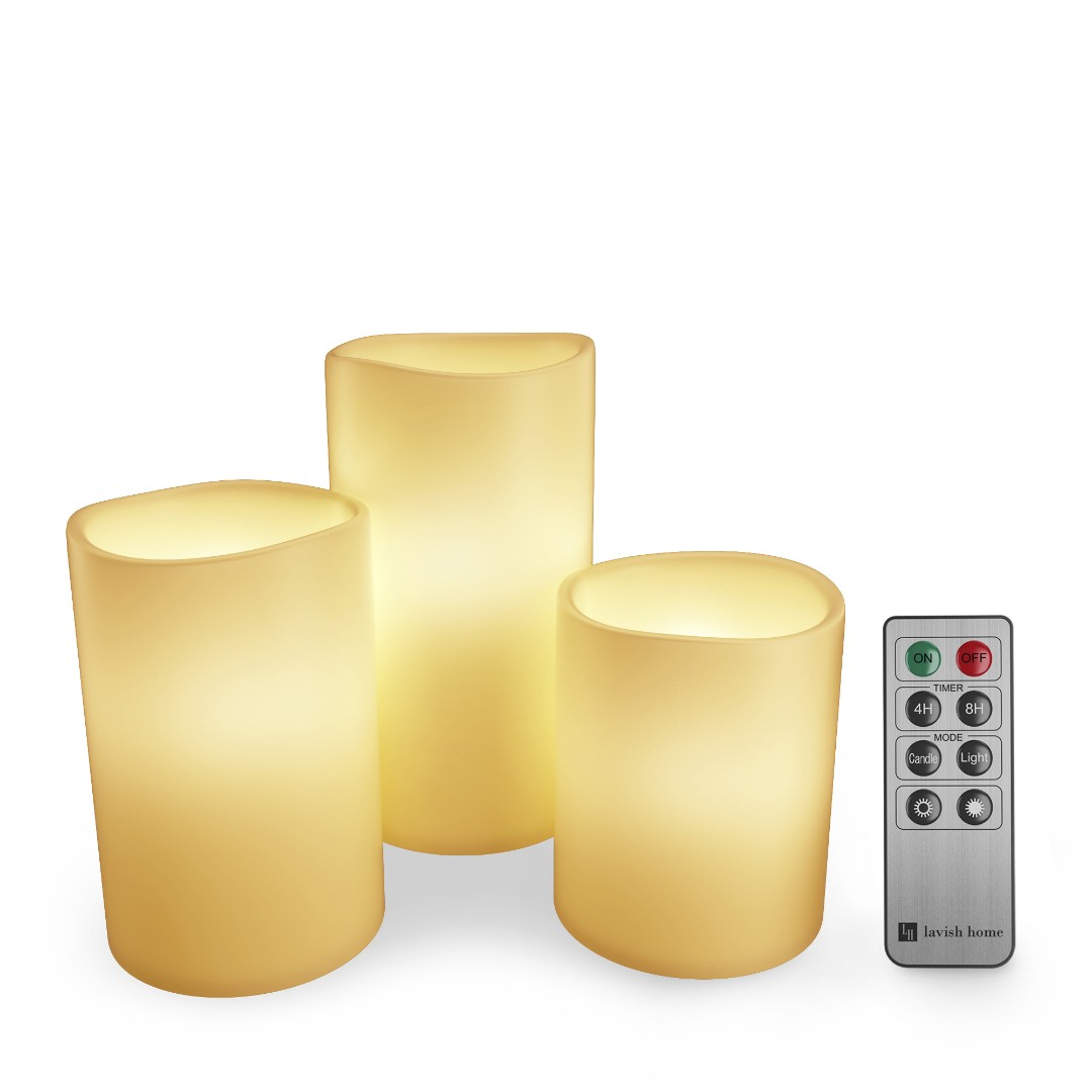 Battery operated candles set of 3 pillar realistic moving flame real wax flameless flickering led candles with remote control electronics