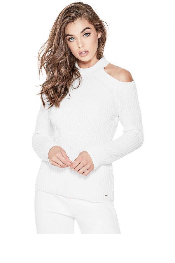 8b963527497a8 BN GUESS Ingrid Mock Neck Cold Shoulder Sweater