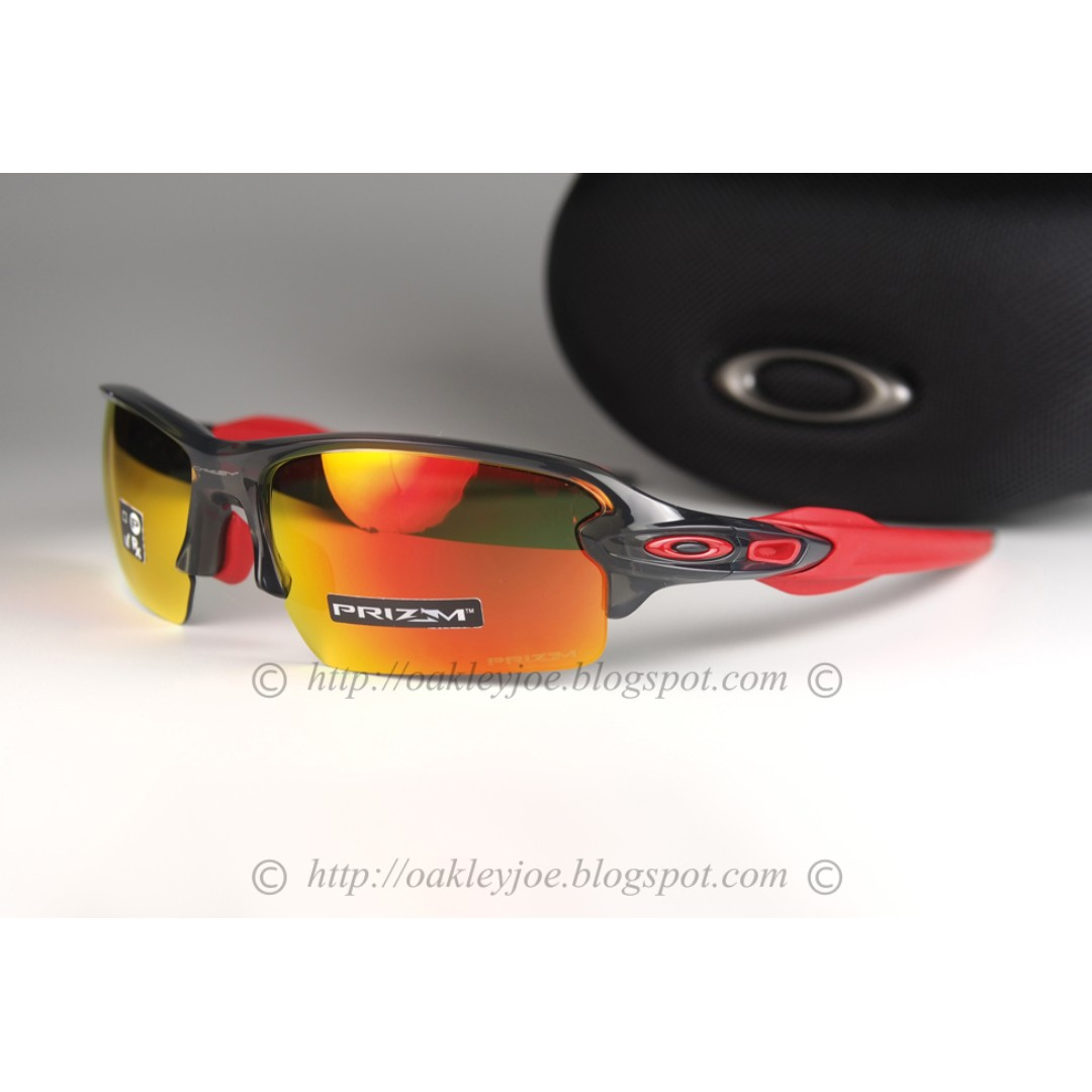 8e96d317c51e9 BNIB Oakley Flak 2.0 Asian Fit grey smoke + prizm ruby oo9271-3061 ...