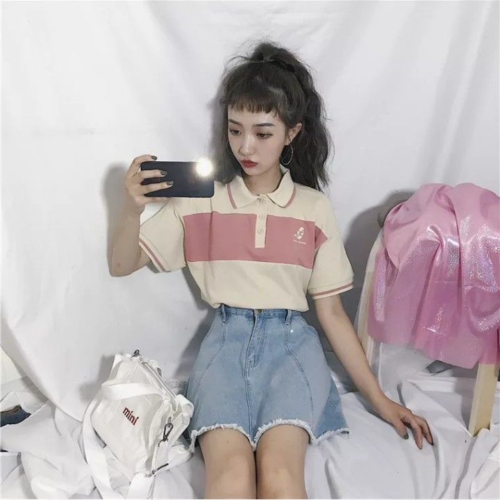9273a0b808568 INSTOCKS ulzzang vintage polo shirt crop top tee t basic essential pink  beige colourblock print