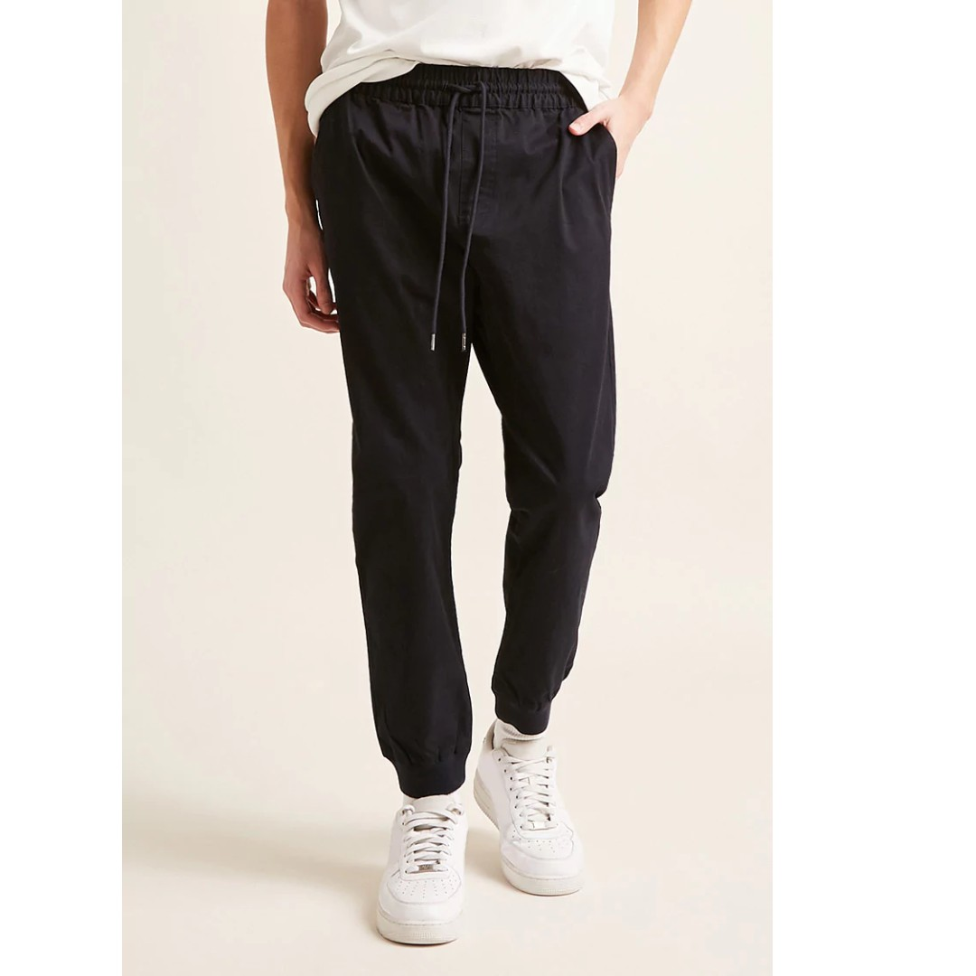 06d31148cfbcf9 Forever 21 / F21 Drawstring Woven Joggers Navy S size, Men's Fashion ...
