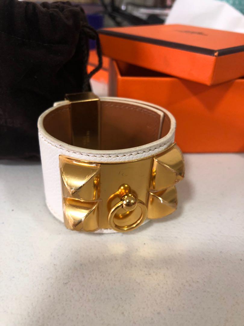 64903435706b Hermes Bracelet CDC White on Gold