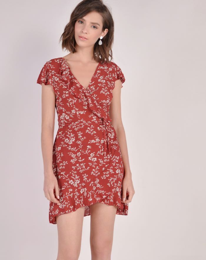 d0d41ed6906 HVV Santana Floral Dress in Burnt Sienna