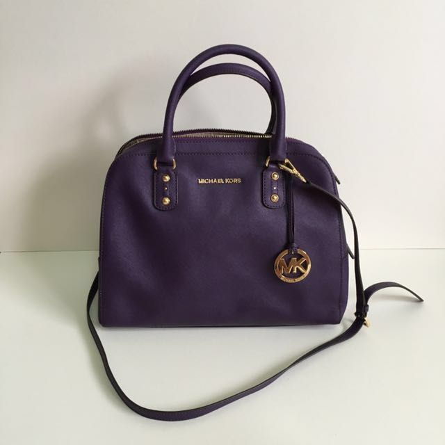 d547817f95df Michael Kors Leather Bag Top Handle with Sling in Purple