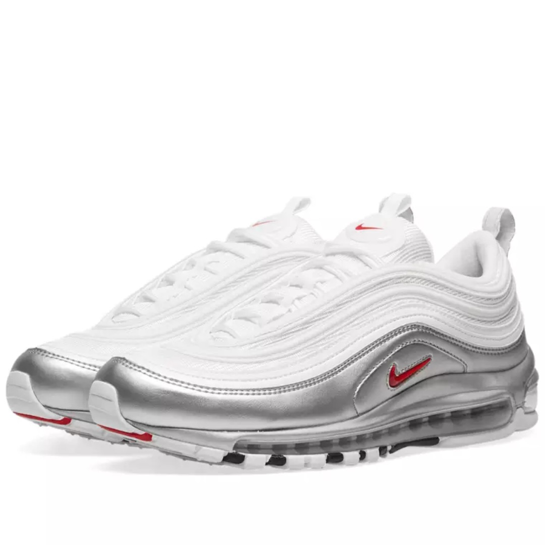 f04daa8836 Nike Air Max 97 QS White/Varsity Red-Metallic Silver-Black, Men's Fashion,  Footwear, Sneakers on Carousell