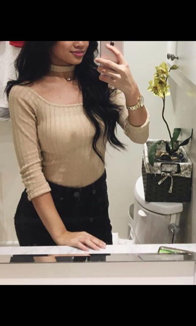 Off shoulder Rose Gold top with choker (Size XS)