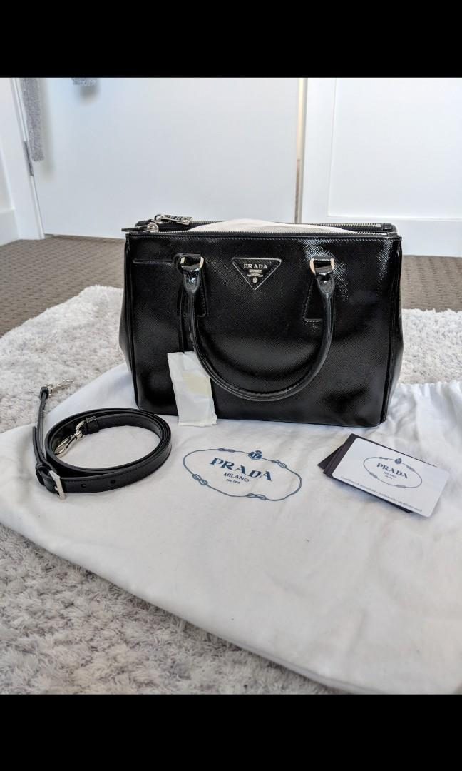 Prada B2863N patent Saffiano Nero black shoulder tote hand bag leather