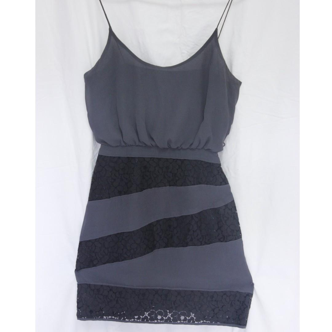 Rodeo Show Sydney charcoal grey blue lace panel dress