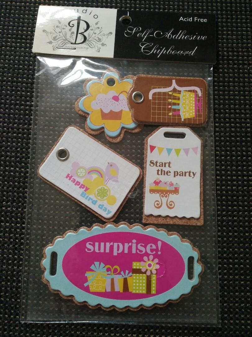 Self adhesive chipboard embellishments birthday theme