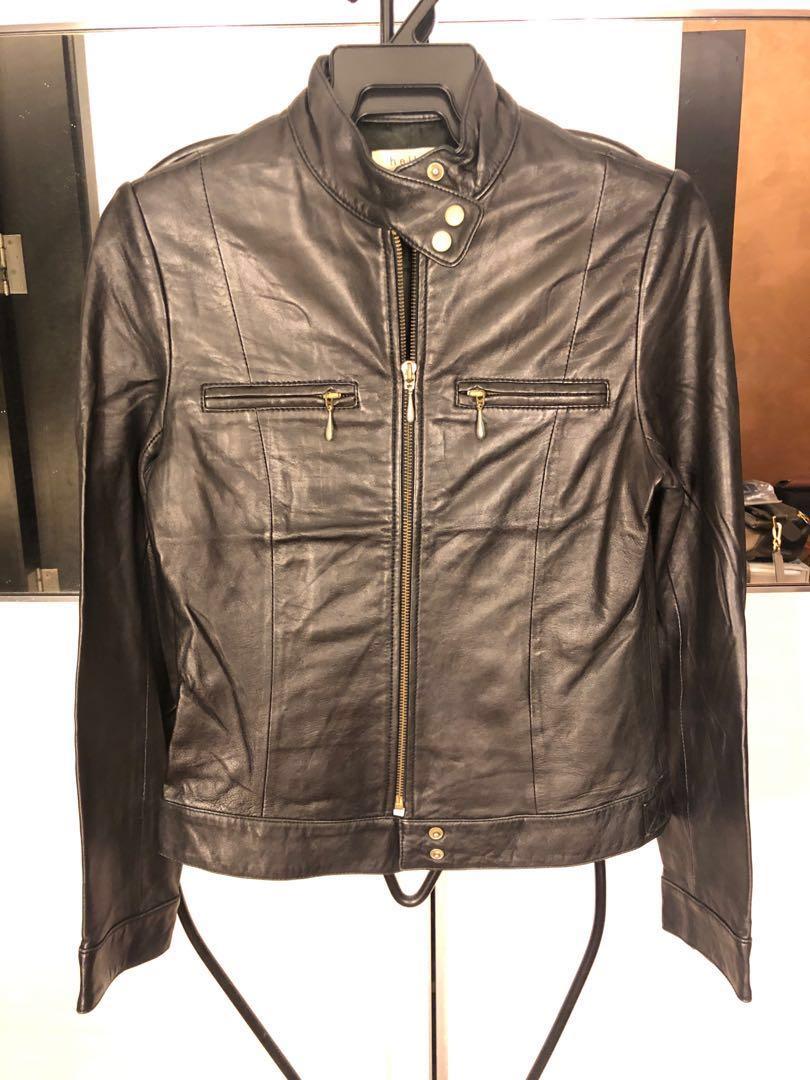 9cc993a5e Woman Genuine Leather Black Biker Jacket