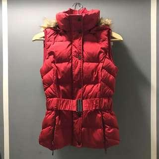 Espirit Women (Size XS) Winter Vest Red Jacket (with removable Hoodie)