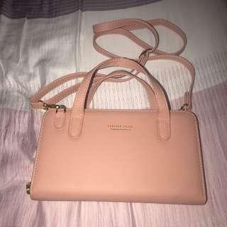 全新 藕粉色側背長夾