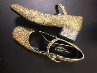 Saint Laurent (Paris) Glitter Gold Mary Janes