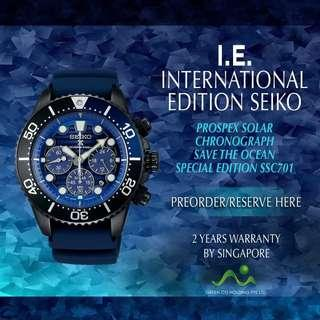 SEIKO INTERNATIONAL EDITION PROSPEX CHRONOGRAPH SOLAR DIVER 200M SAVE THE OCEAN SPECIAL EDITION BLACK PVD SSC701P