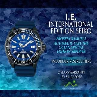 SEIKO INTERNATIONAL EDITION PROPSEX SAMURAI AUTOMATIC SRPD09K BLACK PVD SAVE THE OCEAN SPECIAL EDITION