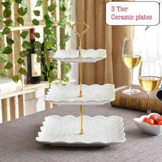 New three tier cupcakes stand party display fruit dessert snack plates