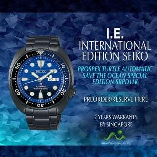 SEIKO INTERNATIONAL EDITION PROSPEX TURTLE AUTOMATIC SAVE THE OCEAN SPECIAL EDITION PVD BLACK SRPD11K