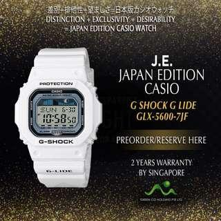 CASIO JAPAN EDITION G SHOCK WHITE GLX-5600-7JF G LIDE