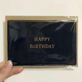 誠品日本製深藍絨布/牛皮信封生日卡片