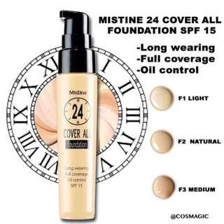 FREE SHIPPING🌟100%Ori Mistine 24Hours Cover All Foundation24
