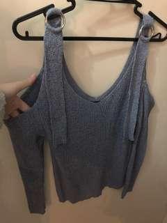 全新 韓國衫 韓國top 韓國 灰藍色 露肩衫 off shoulder (Made in Korea)