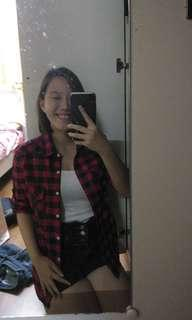 Red and black coloured flannel #MY1212